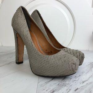 Pour La Victoire Irina II Snakeskin Platform Heels